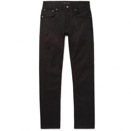 Mens Nudie Jeans Grim Tim Slim-fit Organic Denim Jeans in Black
