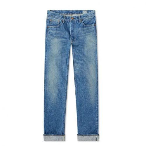 Mens orSlow 107 Ivy League Slim Selvedge Denim Jeans in Used Blue