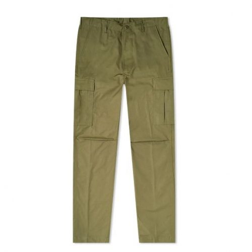 Mens orSlow 6 Pocket Cargo Pant Trousers in Army Green