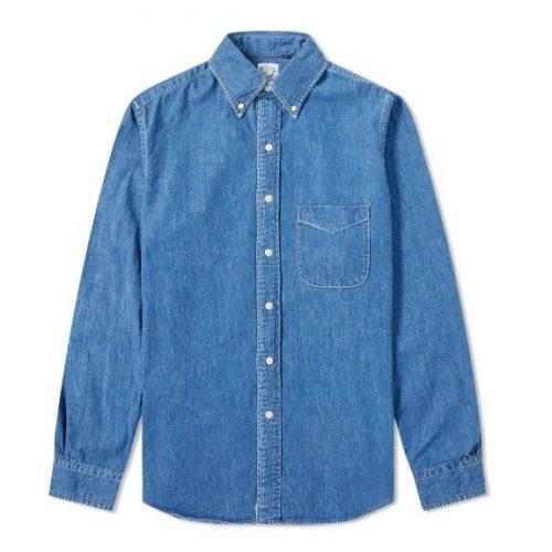MensorSlow Button Down Denim Shirt in Blue