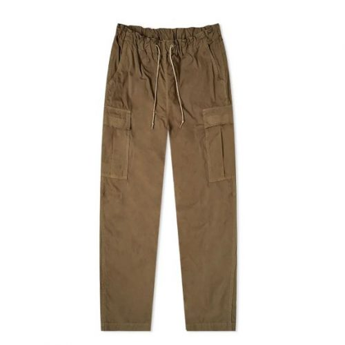 Mens orSlow Easy Cargo Pant Trousers in Olive Drab