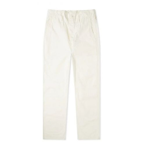 Mens orSlow French Work Pant Chino Trousers in Off-white