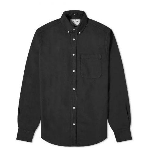 Mens Portuguese Flannel Belavista Button Down Oxford Shirt in Black