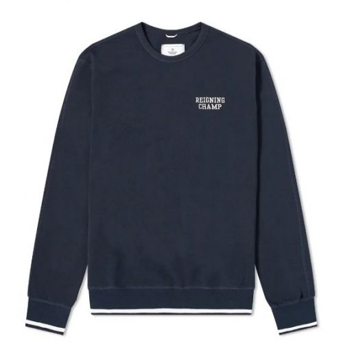Mens Reigning Champ Embroidered Crew Neck Sweatshirt in Navy