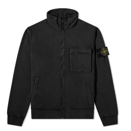 MensStone Island Zip Track Jacket in Black