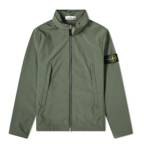 Mens Stone Island Lightweight Soft Shell-R Hooded Jacket in Green