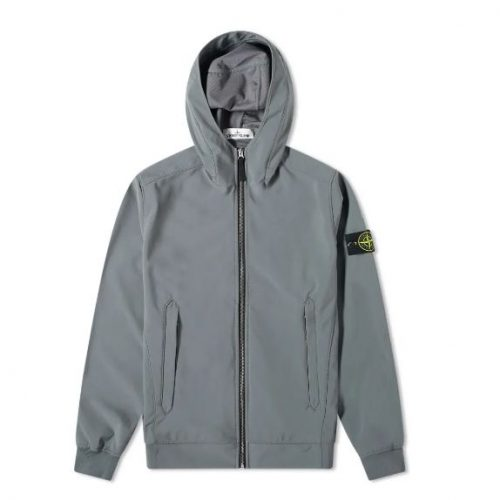 Mens Stone Island Lightweight Soft Shell-R Hooded Jacket in Pewter Grey