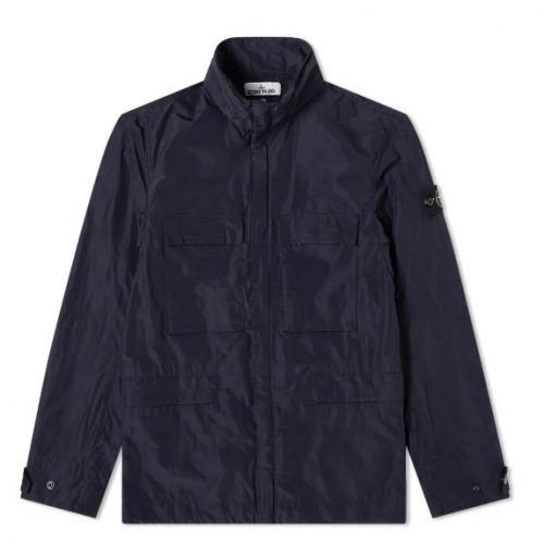 Mens Stone Island Micro Reps 4 Pocket Jacket in Navy