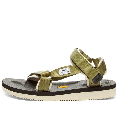 Mens A.P.C. x Suicoke Depa-V2 Sandals in Khaki Green