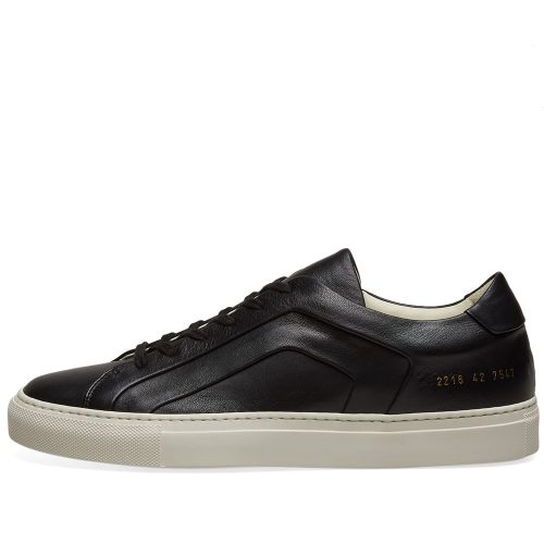 Mens Common Projects Achilles Low Multi-Ply Sneakers in Black & White