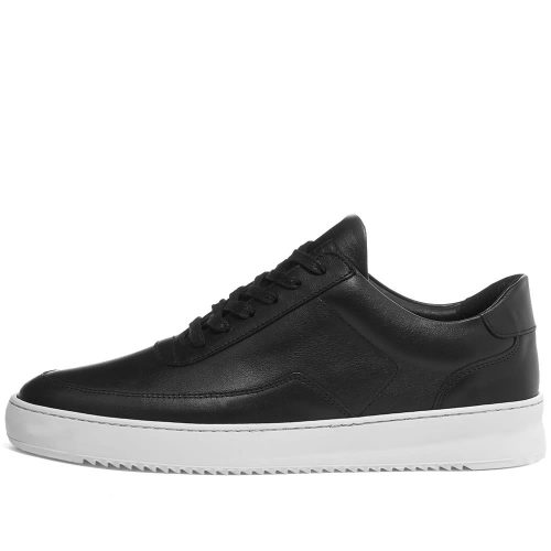 Mens Filling Pieces Low Mondo Ripple Nardo Nappa Leather Sneakers in Black