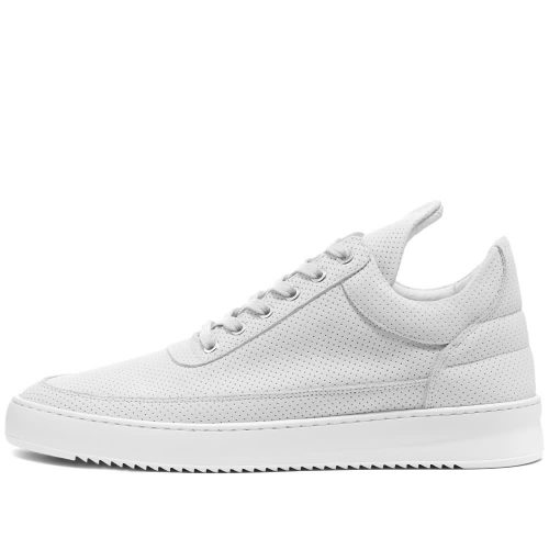 Mens Filling Pieces Low Ripple Nubuck Perforated Sneakers in White
