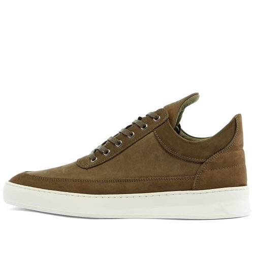 Mens Filling Pieces Low Ripple Nubuck Perforated Sneakers in Dark Green