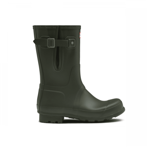 Mens Hunter Original Short Side Adjustable Wellington Boots in Dark Green Matte