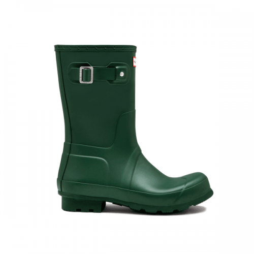 Mens Hunter Original Short Wellington Boots in Green