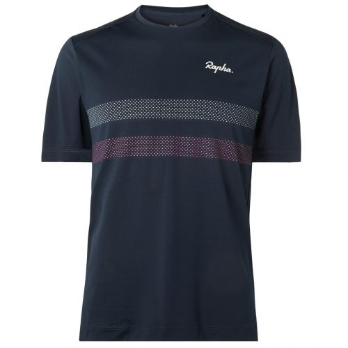 Mens Rapha Explore Technical Striped Stretch-Mesh T-Shirt in Blue
