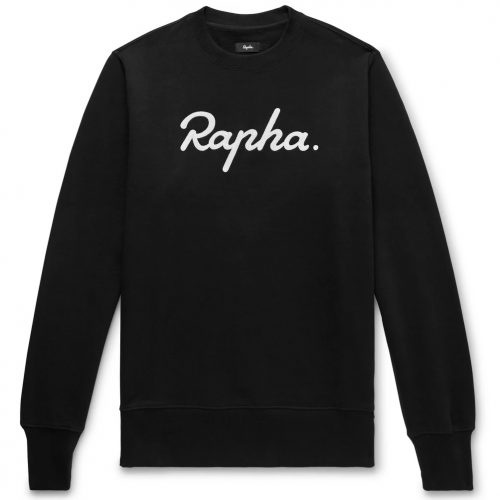 Mens Rapha Logo-Embroidered Fleece-Back Cotton-Jersey Sweatshirt in Black