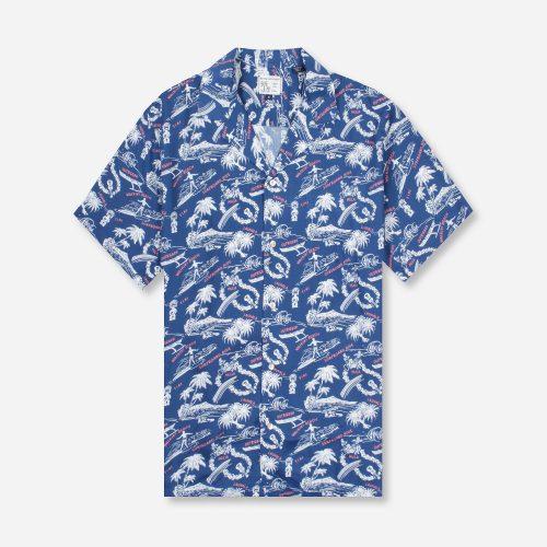 Mens Reyn Spooner Okole Maluna Camp Shirt in Blue