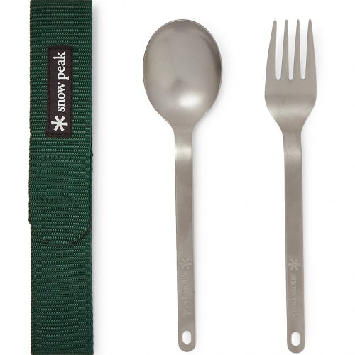 Mens Snow Peak Titanium Fork and Spoon Cutlery Set in Green