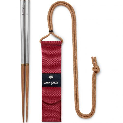 Mens Snow Peak Wabuki Large Collapsible Stainless Steel and Bamboo Chopsticks in Red