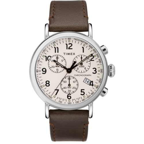 Mens Timex Standard Watch in White with a Brown Leather Strap