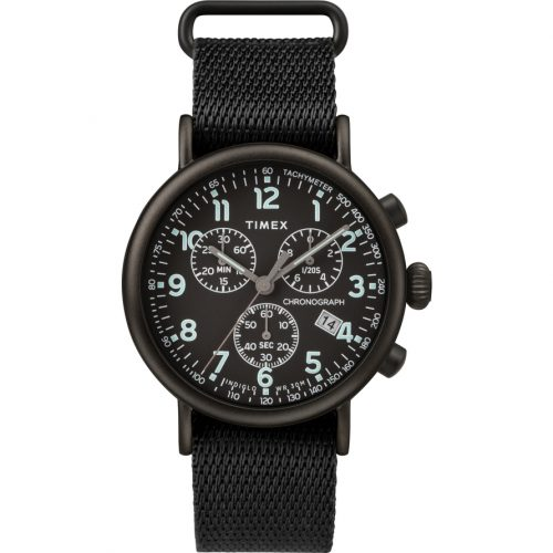 Mens Timex Standard Chronograph Watch in Black with Nato Strap