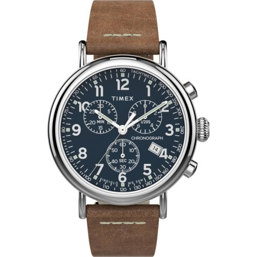 Mens Timex Standard Chronograph Watch in Blue with Leather Strap