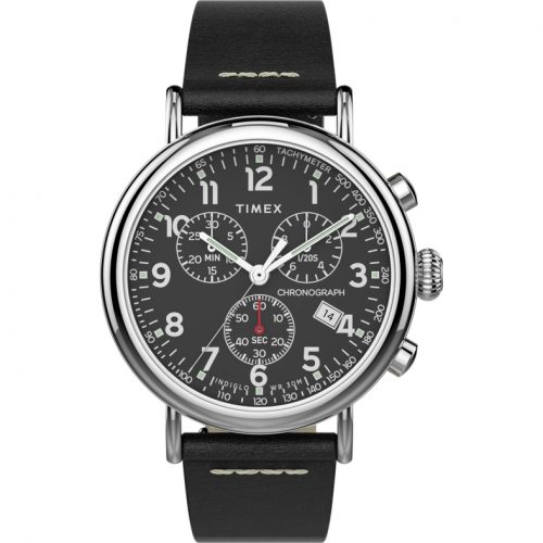 Mens Timex Standard Chronograph Watch in Black with Leather Strap