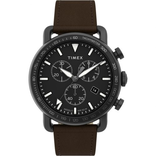 Mens Timex Military Chrono Watch in Black with Brown Leather Strap