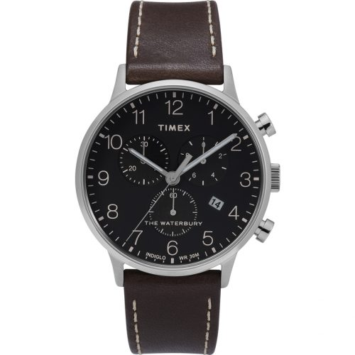 Mens Timex Waterbury Classic Watch in Black with Brown Leather Strap