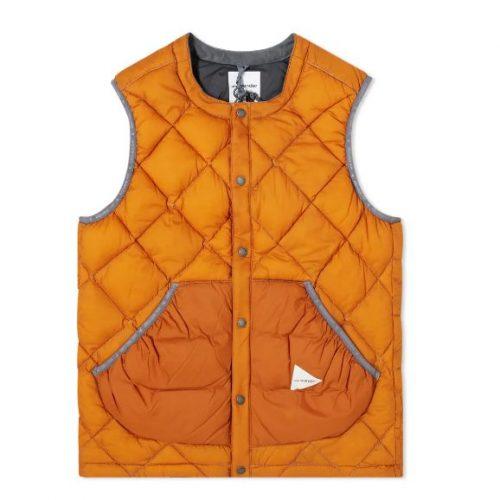 MensAnd Wander Diamond Stitch Down Vest in Orange