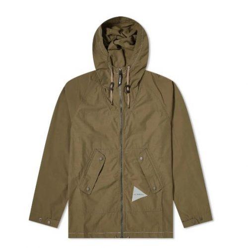 Mens And Wander Nylon Taffeta Hooded Jacketin Khaki Green