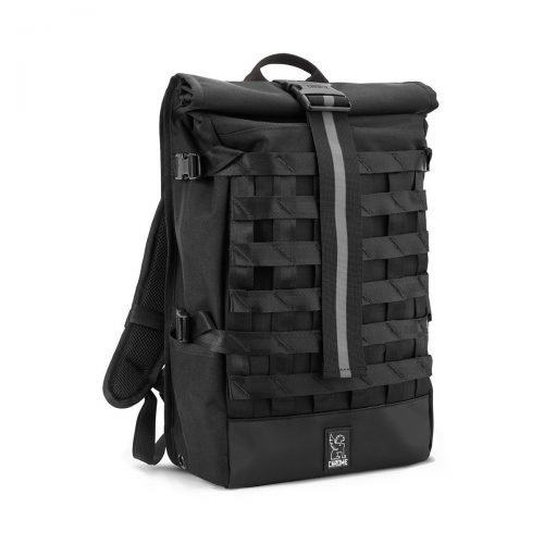 Mens Chrome Industries Barrage Cargo Rolltop Backpack in All Black