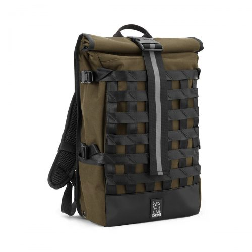 Mens Chrome Industries Barrage Cargo Rolltop Backpack in Olive
