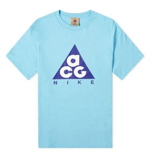 Mens Nike ACG Giant Logo T-Shirt in Light Blue