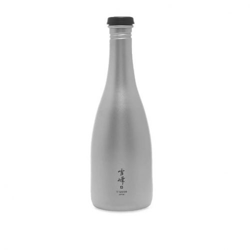 Mens Snow Peak Titanium Sake Bottle in Silver