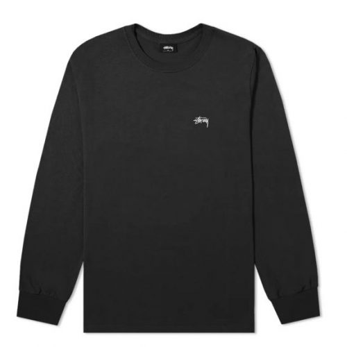 Mens Stussy Long Sleeve Stock Crew T-Shirt in Black