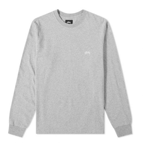 Mens Stussy Long Sleeve Stock Crew T-Shirt in Grey Melange