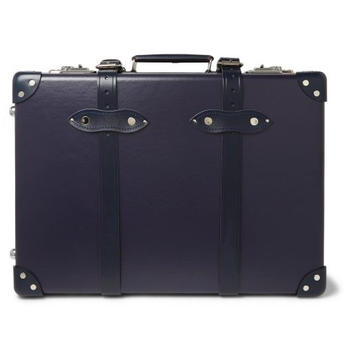 Mens Globe-Trotter 20'' Leather-Trimmed Carry-On Suitcase in Blue