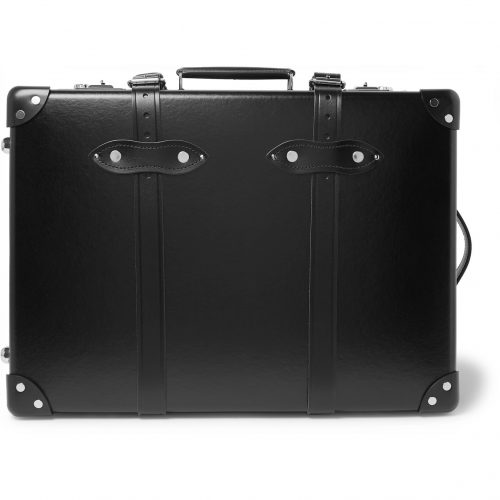 Mens Globe-Trotter Centenary 20 Leather-Trimmed Carry-On Suitcase in Black