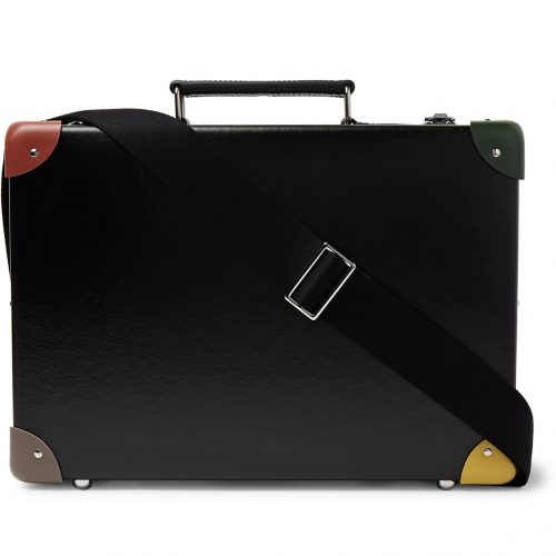 Mens Globe-Trotter x Paul Smith 14 Leather-Trimmed Attache Briefcase in Black