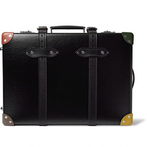 Mens Globe-Trotter x Paul Smith 20 Leather-Trimmed Trolley Case in Black
