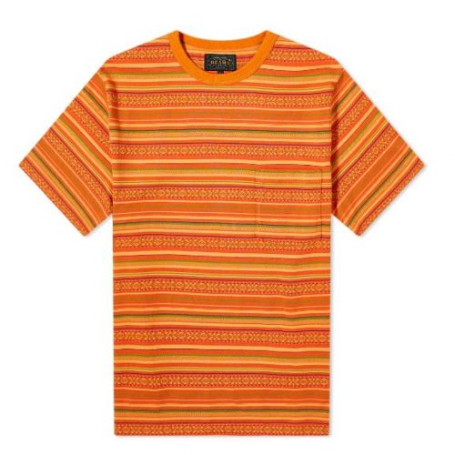 Mens Beams Plus Jacquard Border Pocket T-Shirt in Orange