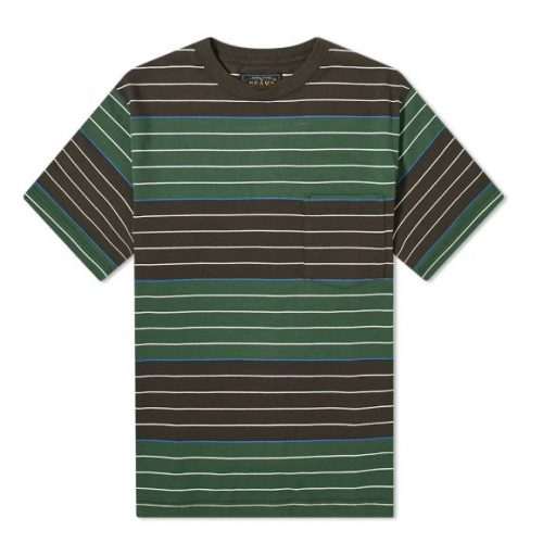Mens Beams Plus Pocket Stripe T-Shirt in Brown & Green