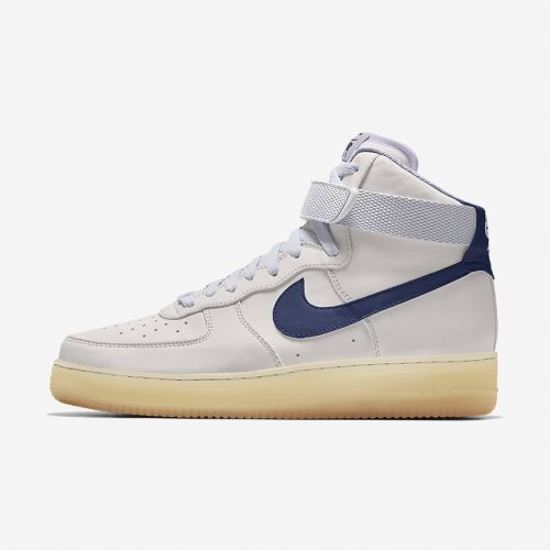 MensNike iD Air Force 1 High Sneakers in White & Navy