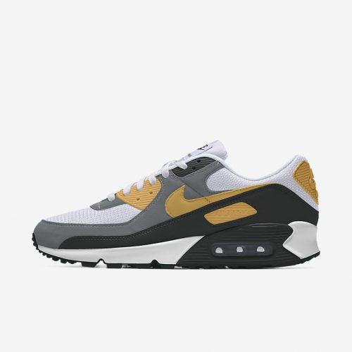 MensNike iD Air Max 90 Sneakers in Grey Black & Tan