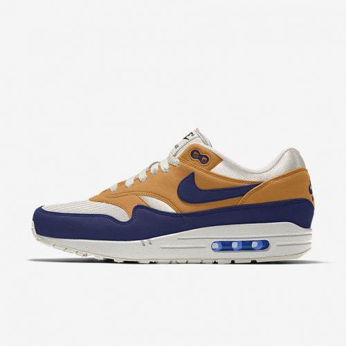 MensNike iD Air Max 1 Sneakers in Tan Navy & White