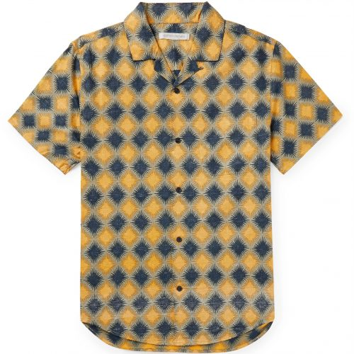 Mens Outerknown BBQ Camp-Collar Organic Cotton and Hemp Shirt in Yellow