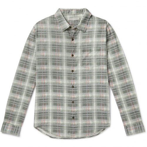 Mens Outerknown Highline Checked Cotton and Linen-Blend Flannel Shirt in Green
