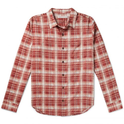 Mens Outerknown Highline Checked Cotton and Linen-Blend Flannel Shirt in Red